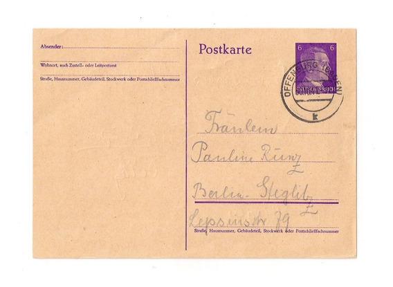 Alemania 3ª Reich Tarjeta Cir. Mat. Offenburg Baden Año 1941