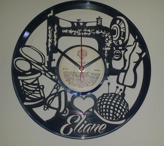 Relógio De Parede Em Disco Vinil - Personalizado Costureira
