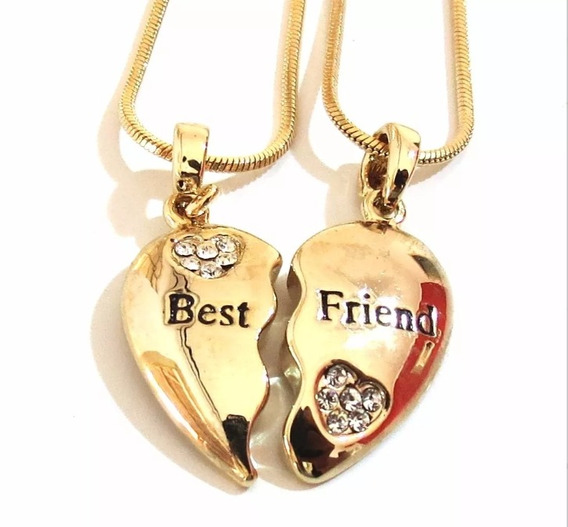 Cordão Best Friends Bff Amigas Folheado A Ouro 18k- 2 Pçs