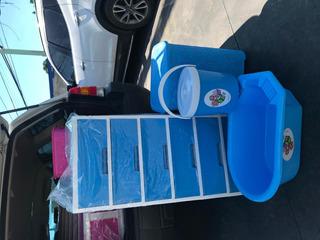 Gaveteros Plástico De 6 Gavetas Azul Combo Completo