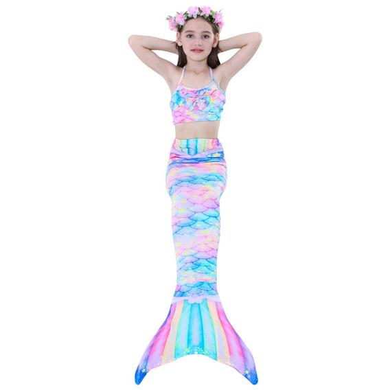 Sirena Cola Y Bikini Niñas Traje De Baño Set 3 Envío Gratis