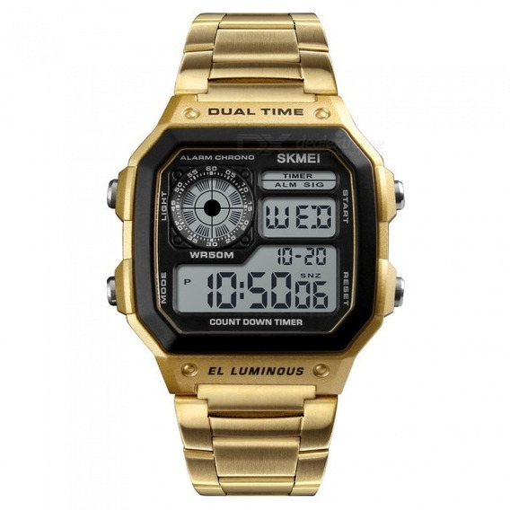 Relógio Skmei 1335 Gold Esportivo Digital Masculino + Brinde