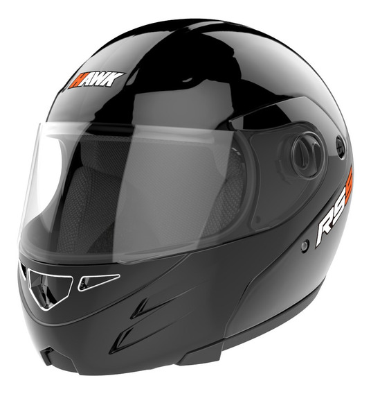 Casco Moto Hawk Rs5 Rebatible Negro Brillo Tienda Oficial