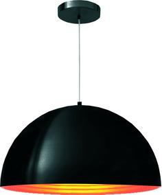 Pendente Lustre Clean 1222 40cm Preto E Dourado G-light