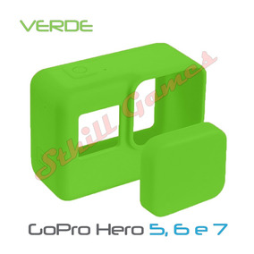 Capa Protetora + Tampa Em Silicone Gopro Hero 5, 6 E 7 Verde