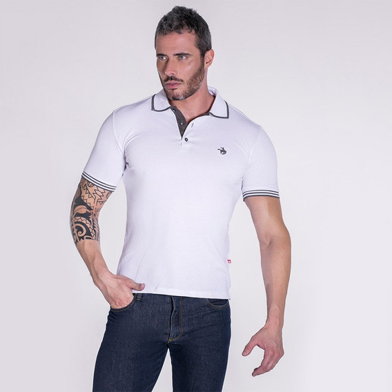 Camiseta Polo Masculina Terra De Peão Branca 50016.056