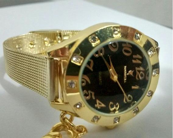 Relógio Feminino Dourado Luxo Otimo Preço