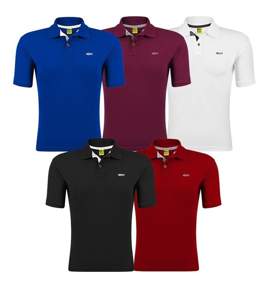 Kit 5 Camisa Gola Polo Fish Piquet Camiseta Atacado Revenda