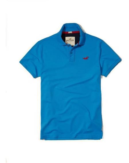 Hollister Caballero Polo Stretch Pique Azul Acero/rojo Impor