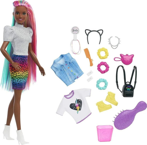 Imagem 1 de 7 de Barbie Leopard Rainbow Hair 2021 Negra Longos Acessórios