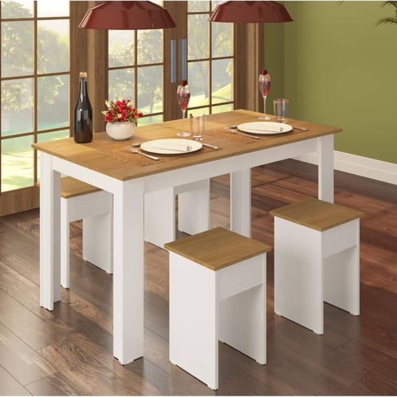 Conjunto Mesa 135cm Com 4 Banquetas - Branco/amadeirado