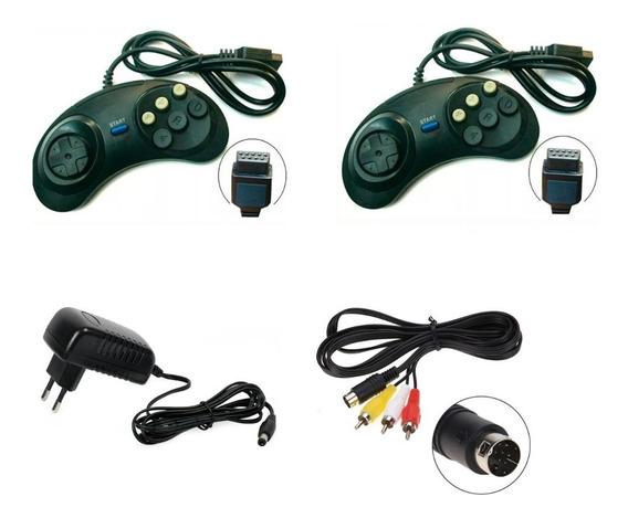 Kit Completo 2 Controle, Fonte, Cabo Av Sega Mega Drive 2