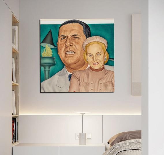 Cuadro 45x45cm Peron Y Evita Draw Eva Juan Domingo