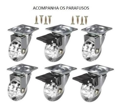 Imagem 1 de 4 de Rodizio Gel 35mm Rodinha Giratória 10 Peças C/trava P/móveis