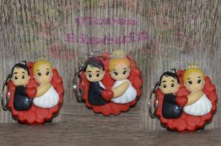 10 Lembrancinhas Casamento Chaveiro Noivinhos Em Biscuit