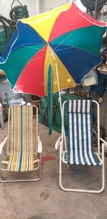 Sillas Para Playa 5 + 1 Sombrilla