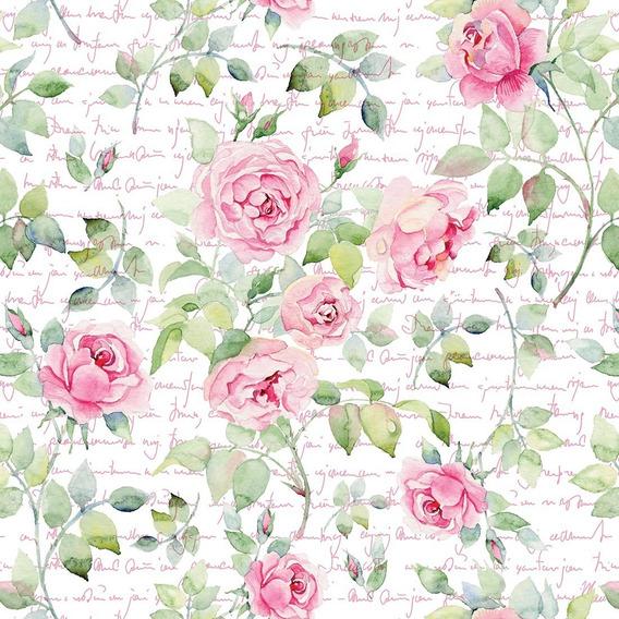 Papel Parede Autocolante Floral Rosa Com Fundo Estilo Pintura, Caneta E Tinta Romântico Sala Vinil Lavável 10mt
