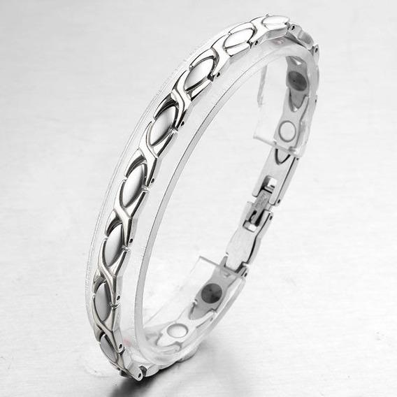 Pulseira Bracelete Masculina Prata Luxo Magnética