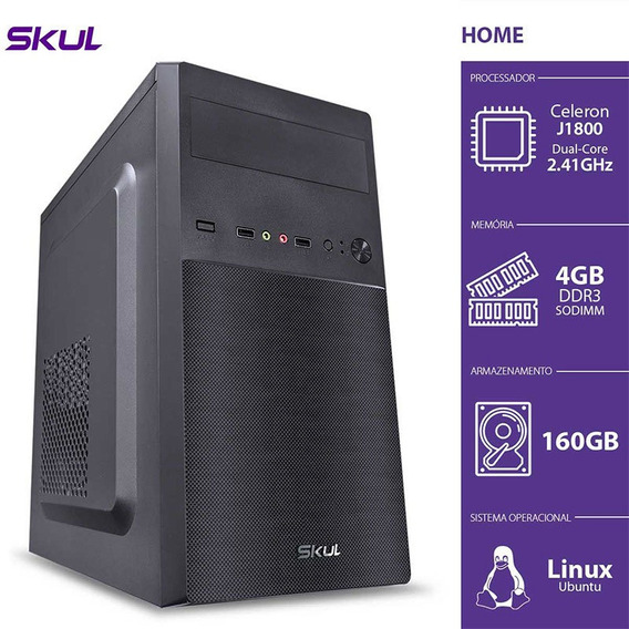 Pc Skul H100 Celeron Dual Core, J1800, 4gb, Hd 160gb, 200w