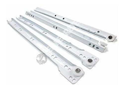 Imagen 1 de 3 de Corredera Metalica 450 Mm Blanca Riel Para Cajones