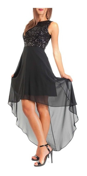 Vestido Negro Paliette Y Gasa Fiesta