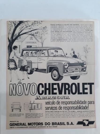 Propaganda Antiga Chevrolet Amazona 3100 Escolar Coleção