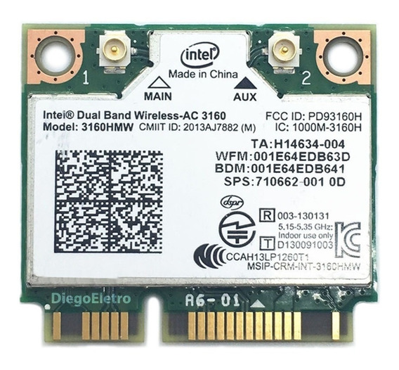 Placa Wireless Wifi 5ghz Intel Dual Band Para Notebook Sony Vaio Svf14aa1qx 433mbps + Bluetooth