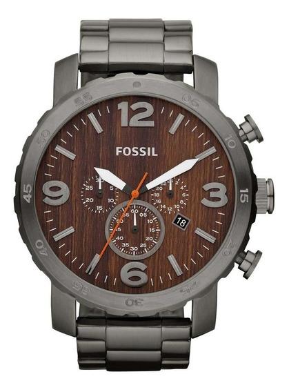 Relógio Fossil Cronógrafo Fjr1355z Com Fundo De Madeira