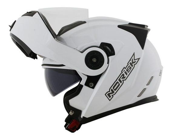 Capacete Moto Abre Queixo Articulável Norisk Route Branco Br
