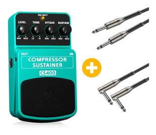 Pedal Behringer Cs400 Compresor Y Sustain + Cables De Regalo