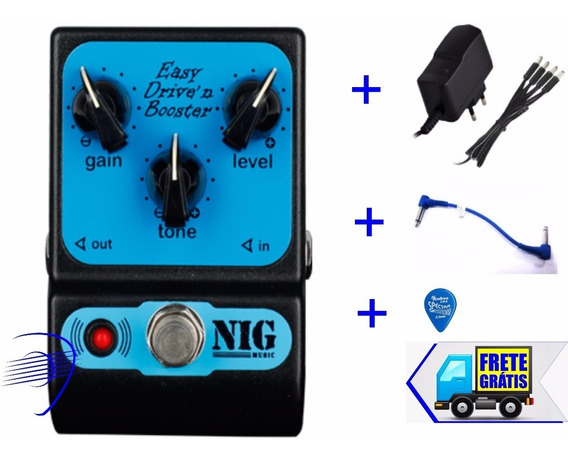 Pedal Efeito Nig Easy Drive N Booster Ped + Fonte +cabo
