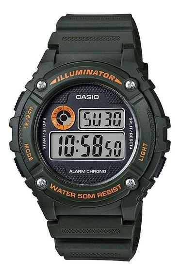 Relógio Masculino Casio Digital Esportivo W-216h-3bvdf Verde