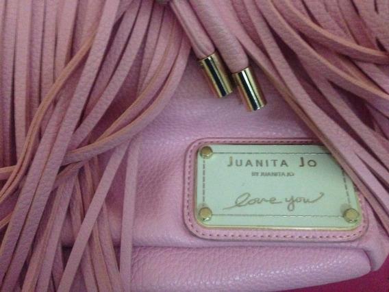 Cartera Original Juanita Jo Color Rosa Cuero-pu Con Flecos