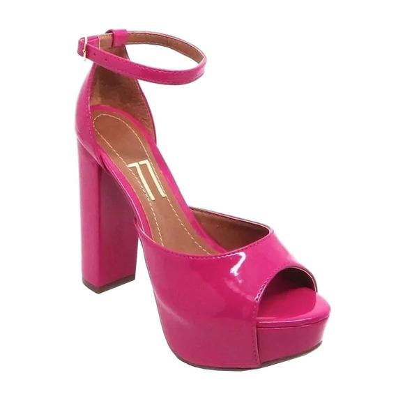 Sandália Meia Pata Salto Alto Grosso Rosa Pink Verniz Tira