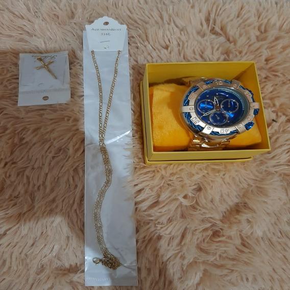 Relógio Invicta Thunderbolt Luxuoso Fundo Azul+caixa+colar