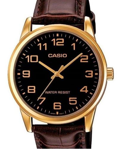 Relógio Casio Masculino Analógico Couro Marrom Dourado