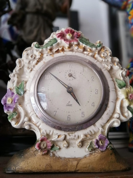 Reloj Decorativo Antiguo, De Porcelana, Coleccionable.