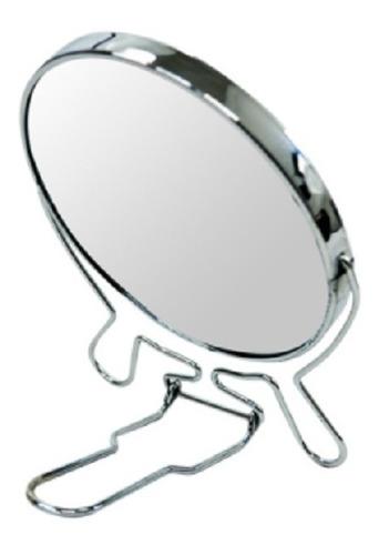 Imagem 1 de 2 de Espelho De Mesa Redondo Dupla Face C/ Suporte E Aumento 13cm