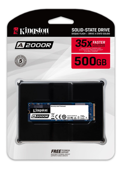 Ssd A2000 M2 500gb Kingston - Pcie Nvme Ger 3.0 -2.000mb/s