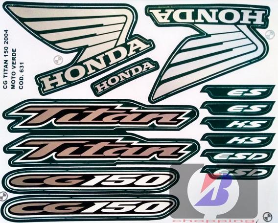 Kit Jogo Faixa Adesivo Cg Titan 150 Es Ks Esd 2004 Verde