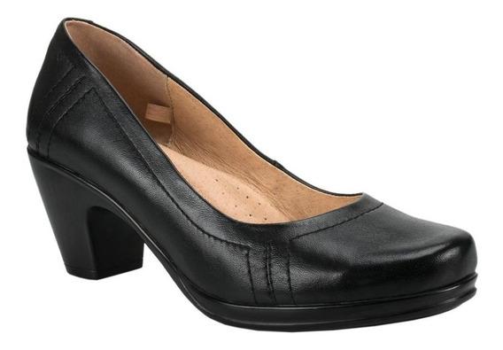Zapato De Vestir De Tacon Comodo Color Negro -aec67d