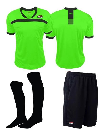 Kit 1 Camisa Arbitro Futebol Verde Limão + 1 Short + 1 Meião