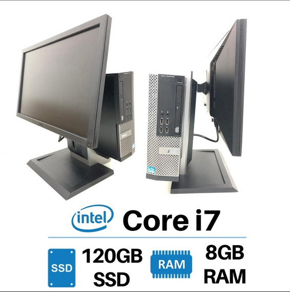 Desktop Dell 7010 Ram 8gb Ssd 120gb Com Monitor 22 Pol