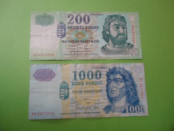 Billetes De Hungria 200 Y 1000 Forint Año 1998