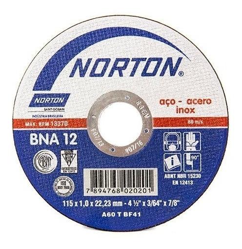 Disco Corte Inox 4 1/2 X 3/64 X 7/8 Bna12 Ext. Norton Cjax25
