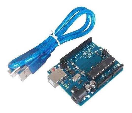 Placa Uno R3 Dip Atmega328 Com Cabo Usb Compatível A Arduino