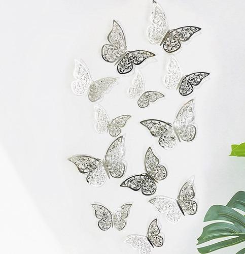 Mariposas 3d Troqueladas Plateado O Dorado Con Adhesivo X 24