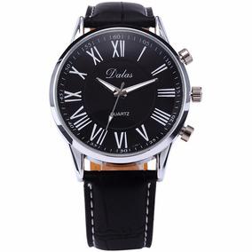 Relógio Prata Pulseira Preto Dalas R004 Promoção!!!
