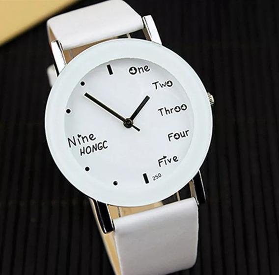 Relógio Feminino Couro Luxo Bonito Barato Promoção Branco