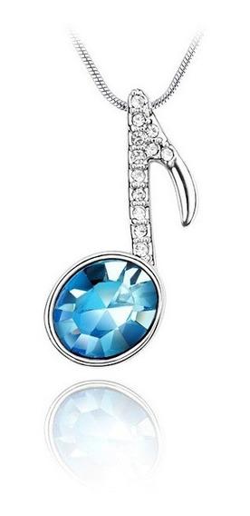 Collar Nota Musical Con Cristales Azules - 5